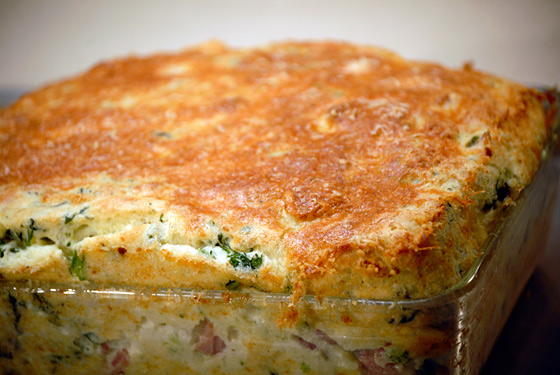 Spinach, Ham And Parmesan Soufflè