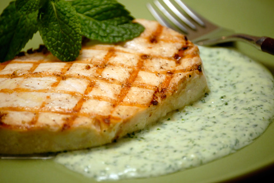 Grilled Swordfish With Spicy Yogurt Sauce