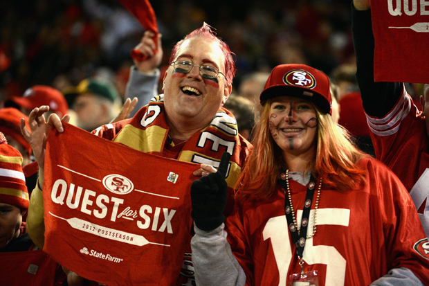 49ers fans during the NFC Divisional Playoff Game against the Green Bay Packers in San Francisco. (Harry How/Getty Images)
