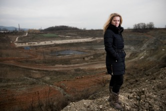 Zuzana Čaputová (in the middle), 2016 Goldman Enviromental Prize winner for Europe, in front of the area where new landfill supposed to be developed.