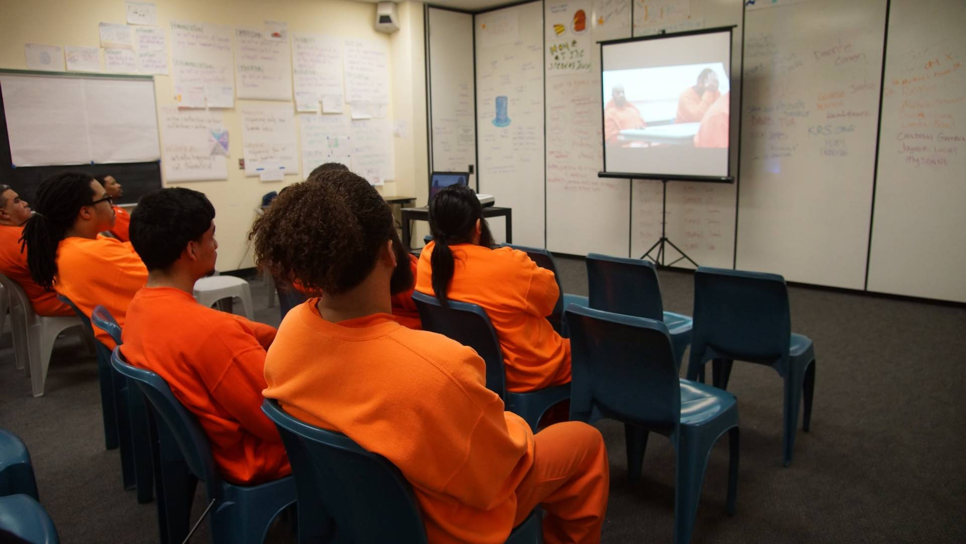 Students at Five Keys Charter School watch The Corridor, a documentary film about the nation's first high school inside an adult jail, which airs on KQED's Truly CA on Friday, June 22 at 8 PM.