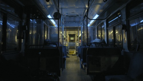 The 22 bus at night.