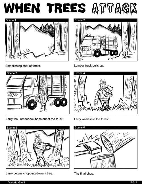 "Storyboard for ""Attack of the Killer Trees."""