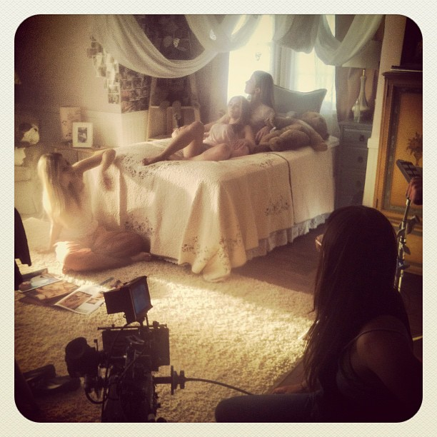 Actresses Megan Campanile, Laura Seay, and Madison West Gill during filming Photo by: Gil Marsden