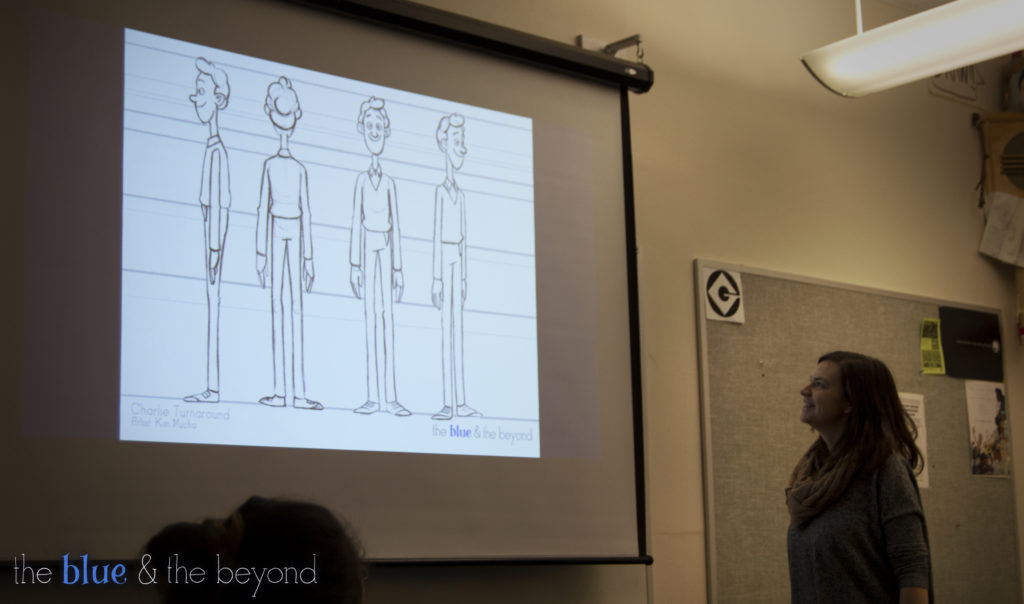 Producer and Supervising Animator Kimberly Mucha introduces the character of Charlie to the crew.