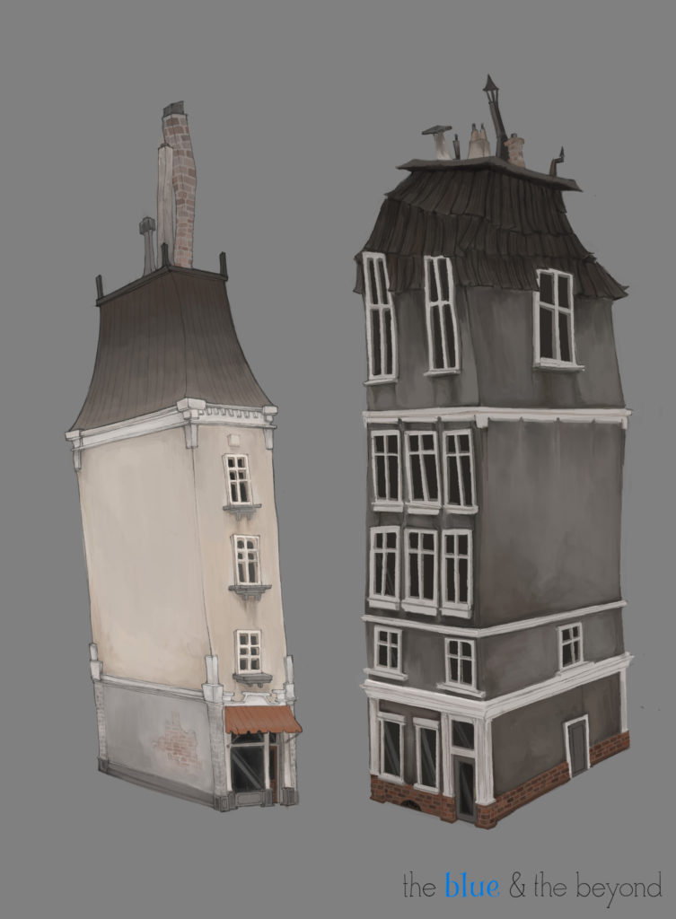 Visual Development piece of some of the city's building designs by Jasmine Truong.