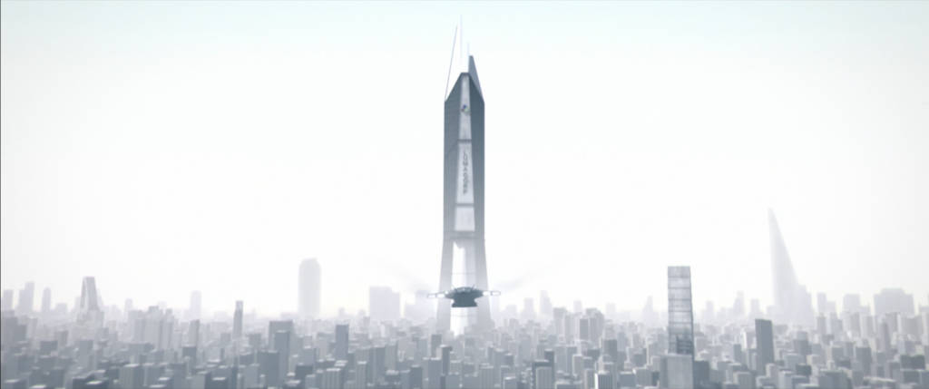 dropship travels towards Lumacorp Tower, the shining spire at the center of the city of Prism.
