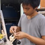 Nilo Batle working on miniatures for his next project, a stop motion film
