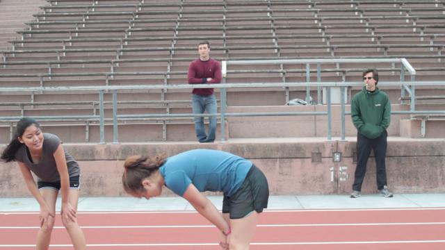 Lea pauses after a race