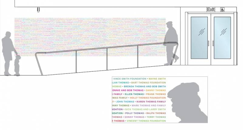 A design sketch of the Donor Tapestry Wall